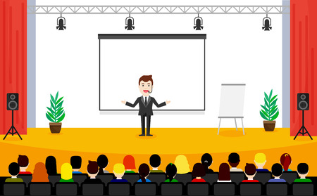 stage coach: Man in suit is speaking on conference. Public Speaking concept. People sitting at the business training vector illustration. Illustration