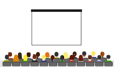 観客はホールで座るし、プレゼンテーションを待ちます。フラット スタイルの会議で座っている人。