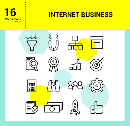 execute: Internet Business Icon outline icons set of marketing and company work.