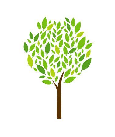 Árbol icono aislado sobre fondo blanco. Árbol abstracto y hojas