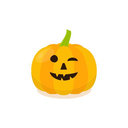 pumkin: Halloween Funny Pumpkin Icon. Isolated pumkin illustration in cartoon style.