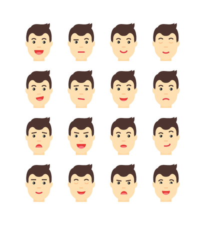 thoughtfulness: set of isolated man faces. Man Expressing different emotions.