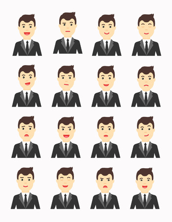 thoughtfulness: Business man Expressing different emotions. Man in suit avatars set. Illustration