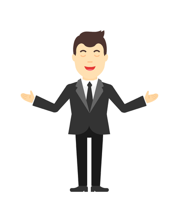 Pastor illustration. Man in a suit praying. Illustration