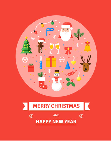 Greeting Christmas and New Year card. Set of Christmas characters and objects -  Merry Christmas illustration in flat style. Winter holidays elements.