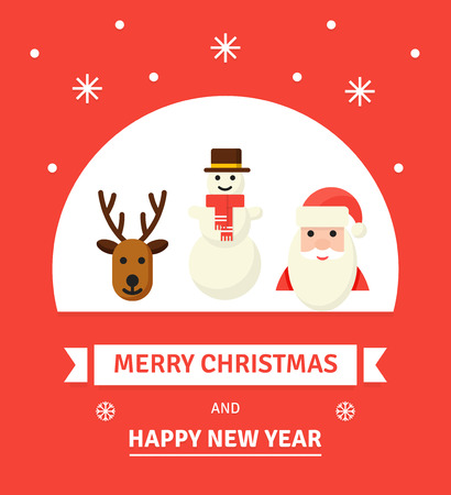 Greeting Christmas and New Year card. Christmas characters -Merry Christmas illustration in flat style. Santa, deer and snowman.