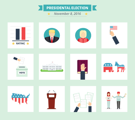 house donkey: American presidental election Icons set. Vote concept symbols in flat style. USA election illustrations.