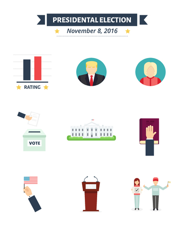 presidental: American presidental election Icons set. Vote concept symbols in flat style. Presidental election of USA flat signs. Election vector illustrations.