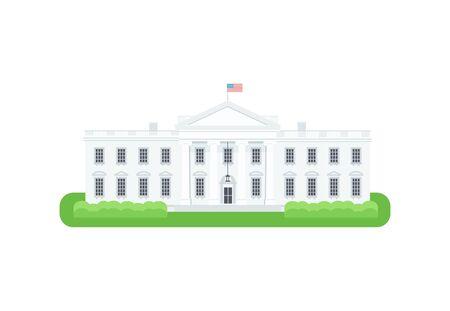 residence: White House detailed vector Icon. President residence vector illustration. Isolated white house on white background. Illustration