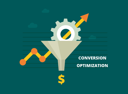 Conversion Rate Optimization - vector illustration. Internet marketing conversion concept with Sales Funnel and growth chart. Conversion optimization banner in flat style. Vettoriali