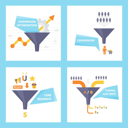 magnets: Sales Funnel set of flat design vector illustrations. Conversion optimization, lead magnets and funnel ab tests infographics elements. Internet marketing conversion concepts collection. Illustration