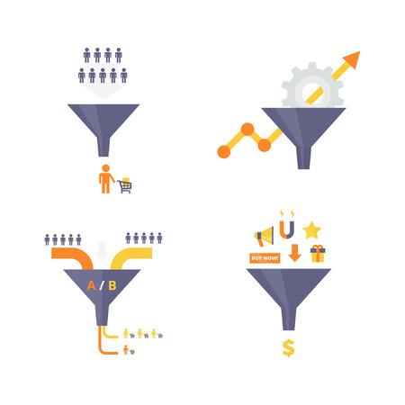Sales funnel set van platte ontwerp vector illustraties. Conversie optimalisatie, lead magneten en trechter ab test infographics elementen. Internet marketing conversie concepten collectie. Vector Illustratie