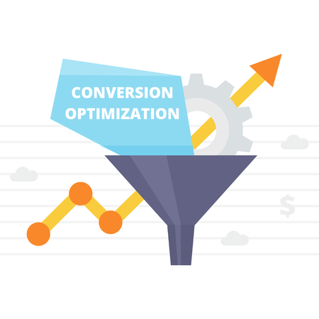 optimize: Conversion Optimization - vector illustration. Internet marketing conversion concept with Sales Funnel and growth chart. Conversion rate optimization banner in flat style. Illustration