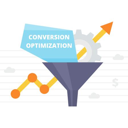 Conversion Optimization - vector illustratie. Internet marketing conversie concept met Sales Funnel en groei grafiek. Succespercentage optimalisatie banner in vlakke stijl.
