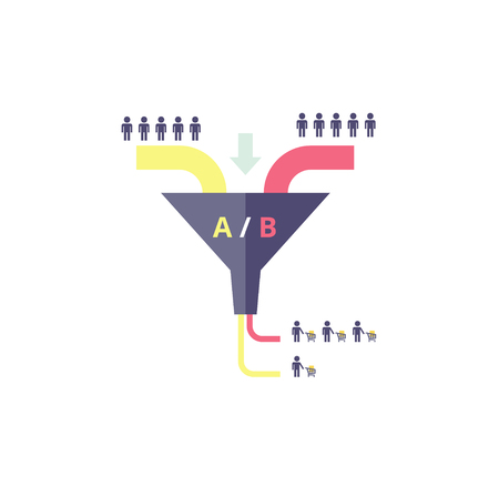 buyers: Sales funnel optimization work. Testing in internet marketing - business concept. AB test - vector illustration.
