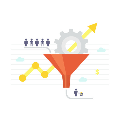 lead: Conversion Optimization - vector illustration. Visitors enter the sales funnel. Sales Funnel and growth chart. Conversion rate optimization banner in flat style. Internet marketing conversion concept.