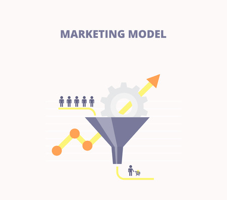 buyers: Marketing Model flat vector illustration. Concept with sales funnel and flow of customers.