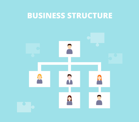 delegation: Management Structure concept. Business structure, delegating and hierarchy of company vector illustration. Illustration