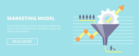 Marketing Model flat vector illustration. Concept with sales funnel and flow of customers.