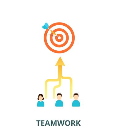Achievement of results concept. Team is committed to a single goal - vector illustration. Combining the skills in teamwork.