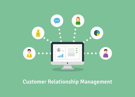 CRM の概念、クライアントとの仕事上のデータの組織。顧客関係管理のベクター イラストです。  イラスト・ベクター素材