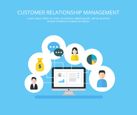 Customer Relationship Management vectorillustratie. Vlakke iconen van het boekhoudsysteem, klanten, ondersteuning, deal. Organisatie van gegevens over werken met klanten, CRM-concept.