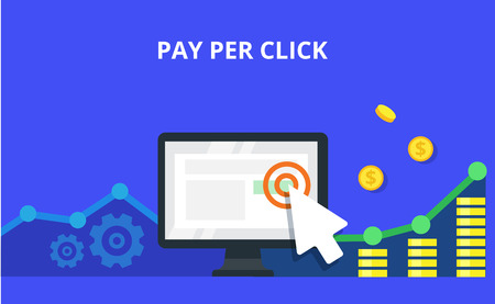 contextual: Pay Per Click internet marketing concept - flat vector illustration. Graph, monitor, big arrow and many coins. PPC advertising and conversion.