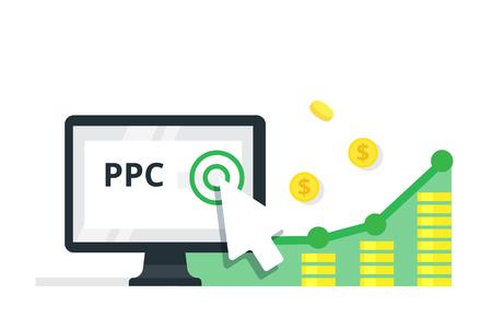 クリックしてごとの支払インターネット マーケティング コンセプト - フラットのベクトル図です。PPC の広告および変換します。