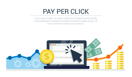 Pay Per Click flat style banner. Internet advertising, online business concept. Modern illustration for web design, marketing and print material.