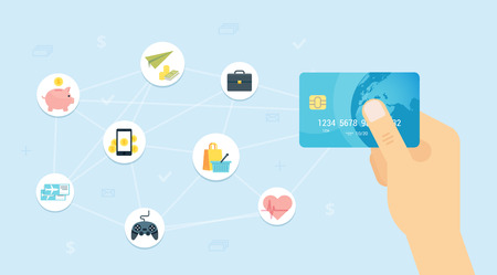 remittance: Blue Credit card in hand flat vector illustration with decorative elements.