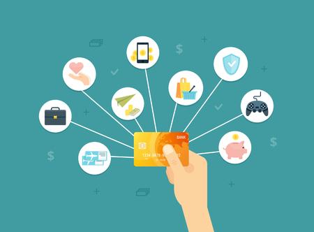 ゴールデン クレジット カード ベクトル イラスト。サイト、web バナー、印刷物、インフォ グラフィックの創造的な概念。