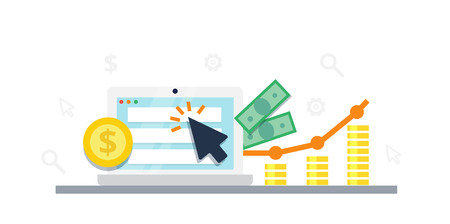 Pay Per Click internet marketing concept - flat vector illustration. Graph, monitor, big arrow and money. PPC advertising and conversion. Stock Illustratie
