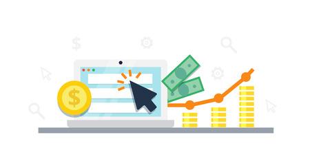 Concetto di vendita su Internet di paga per clic - illustrazione piana di vettore. Grafico, monitor, grande freccia e denaro. Pubblicità e conversione PPC.