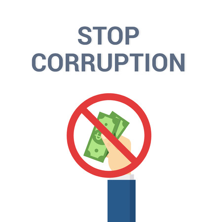 Hand puts bribe - vector illustration in flat style. Stop Corruption concept.