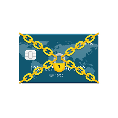 Payment concept in flat style. Credit Card and lock vector illustration. Imagens - 73012454