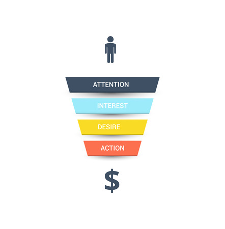 Vector sales funnel. Illustration