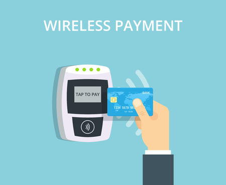 Wireless Payment vector illustration in flat style. Pos terminal confirms contactless payment from credit card. Illustration