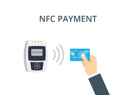 confirms: NFC Payment vector illustration in flat style. Pos terminal confirms contactless payment from credit card. Near-field communication concept. Illustration