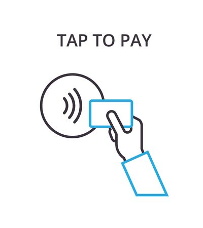 confirms: NFC Payment vector outline Icon Pos terminal confirms contactless payment from credit card. Illustration