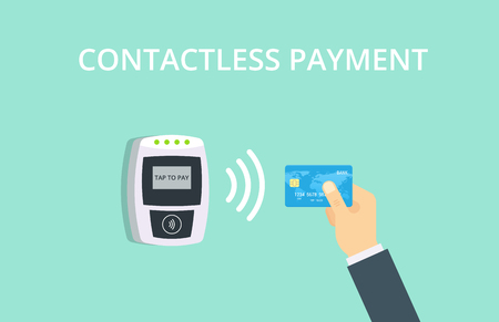 confirms: Contactless payment vector illustration. Near-field communication concept. Illustration