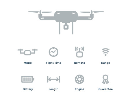 Vector Quadrocopter concept outline objects with drone, flight time, remote, range, battery, length, engine, guarantee. Banco de Imagens - 72812791