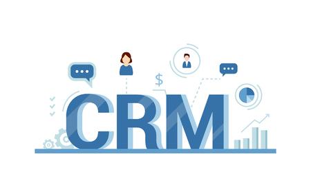 ベクトルの要素を持つ CRM コンセプト デザイン。会計システム、顧客、サポート、契約のフラット アイコン。顧客関係管理、クライアントとの仕事