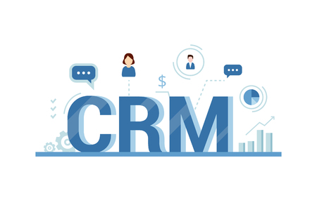 CRM concept design with vector elements. Flat icons of accounting system, clients, support, deal. Organization of data on work with clients, Customer Relationship Management. Çizim