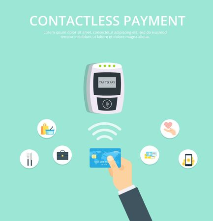 confirms: Wireless Payment vector illustration in flat style. Pos terminal confirms contactless payment from credit card. Illustration