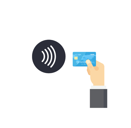 confirms: Pos terminal confirms contactless payment from credit card. NFC Payment vector illustration in flat style.
