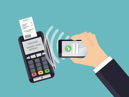 Pos 端末は、スマート フォンからの支払いを確認します。モバイル支払いと NFC の技術コンセプト。フラット スタイルのベクトル図です。