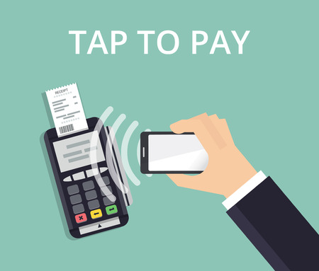 confirms: Pos terminal confirms payment from smartphone. Mobile Payment and NFC technology concept. Flat style vector illustration.