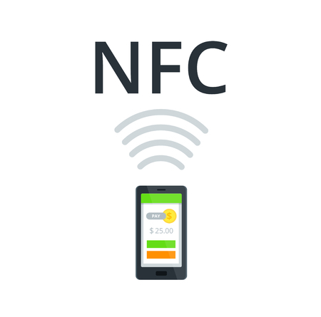 wireless terminals: NFC and Mobile payment flat isolated concept. Near Field Communication vector Icon.