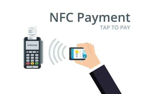 confirms: Mobile Payment and NFC technology concept. Pos terminal confirms payment from smartphone. Flat style vector illustration. Illustration