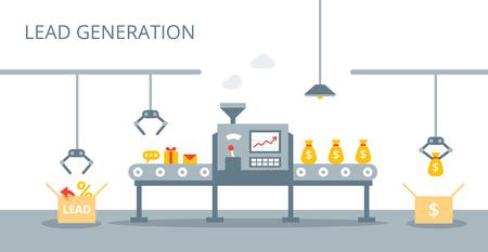 Koncepcja wektorowej generacji lead. Proces produkcji leadów na taśmie przenośnika. Koncepcja marketingu w stylu płaski.